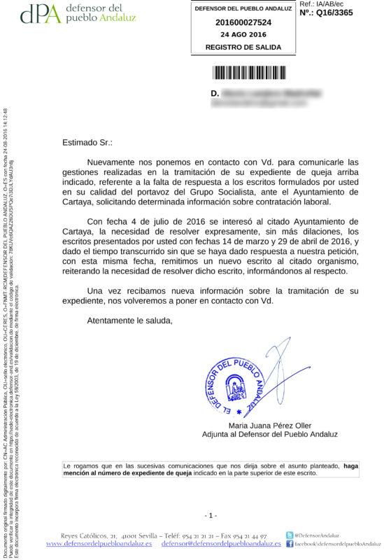 El defensor pide por segunda vez al ayuntamiento de for Oficina del defensor del pueblo